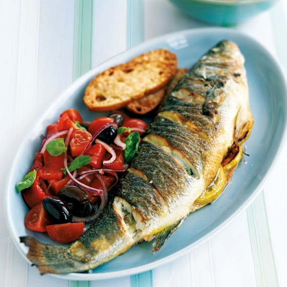 Roasted Sea Bass With Tomato Salad Woman And Home
