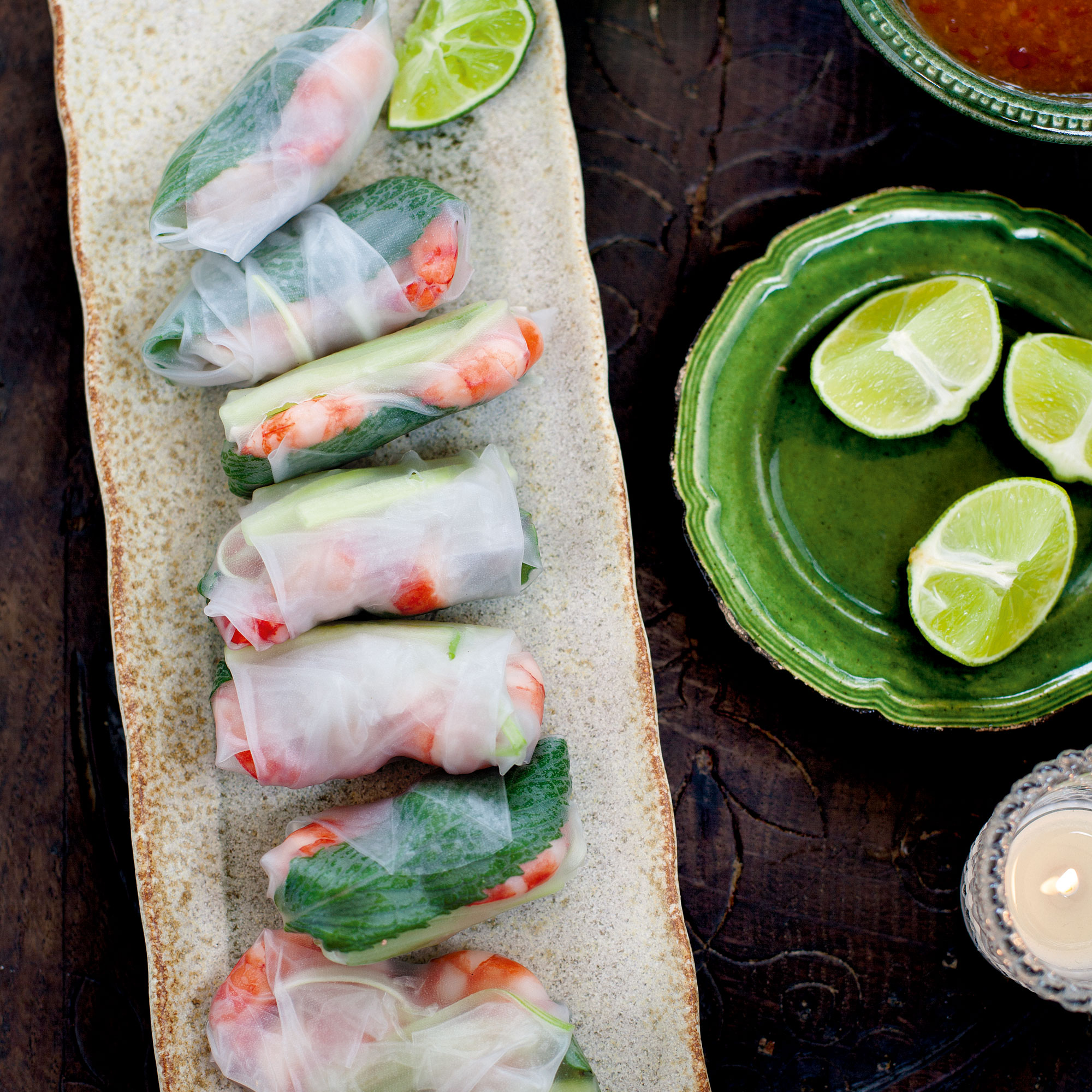 Vietnamese Prawn And Mint Rice Paper Rolls With Sweet