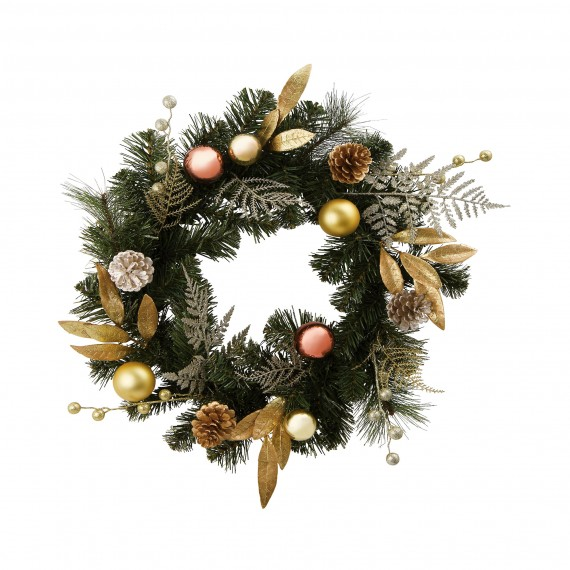 Homebase Artificial Christmas Trees: Homebase Gold Bauble And Leaf Wreath