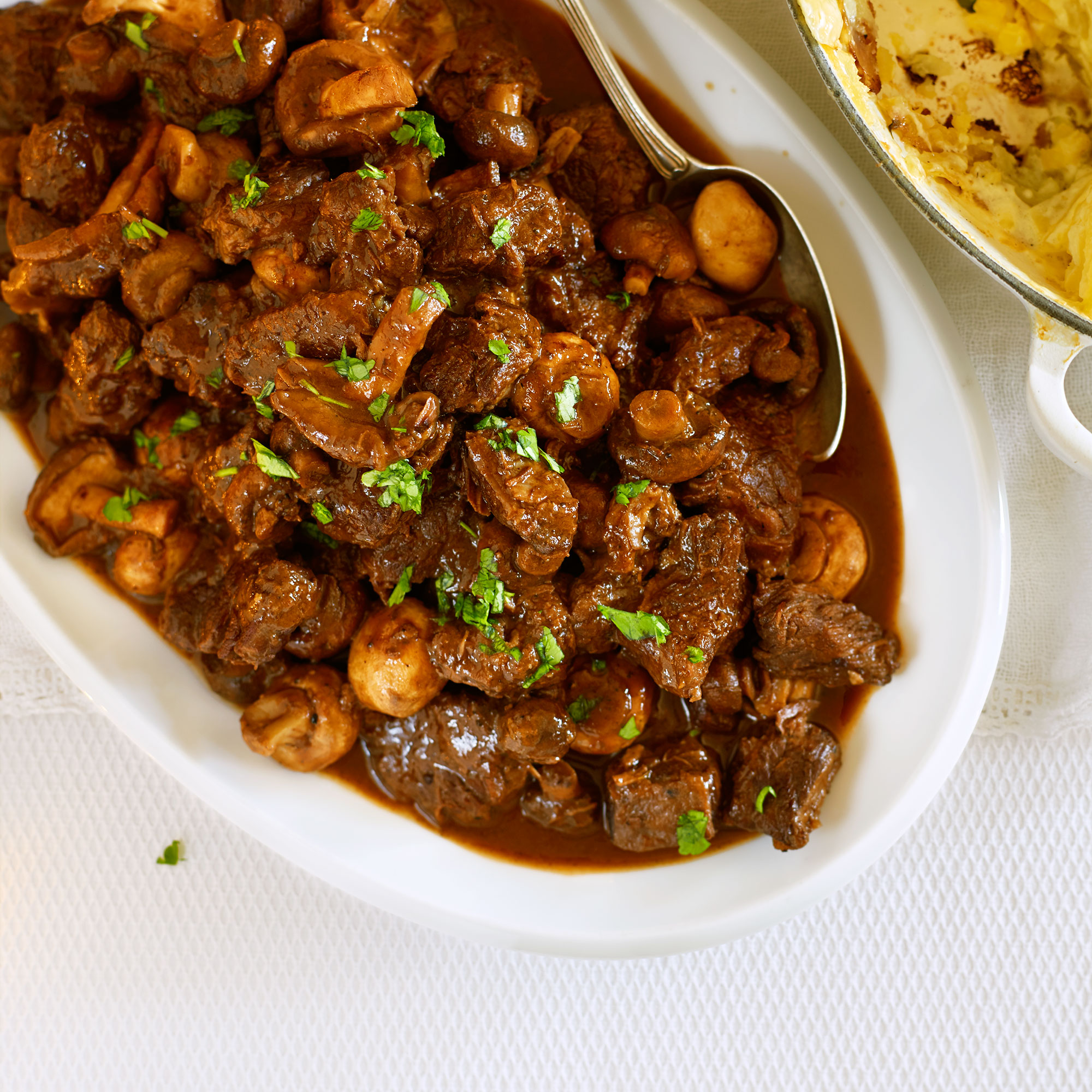 Slow Cooked Beef with Mushrooms and Red Wine - Woman And Home